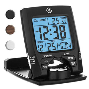 MARATHON CL030023 Travel Alarm Clock with Calendar & Temperature - Battery Included - zingydecor