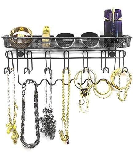 Sorbus Jewelry Organizer Holder, Mail & Key Rack, 13 Hook Wall Mounted Storage Shelf - Perfect for Jewelry, Accessories, Beauty Products, Mail, Keys, and Much More! - zingydecor