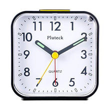 Load image into Gallery viewer, Pluteck Non Ticking Analog Alarm Clock with Nightlight and Snooze/Ascending Sound Alarm/Simple to Set Clocks, Battery Powered, Small, Black - zingydecor