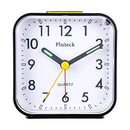 Pluteck Non Ticking Analog Alarm Clock with Nightlight and Snooze/Ascending Sound Alarm/Simple to Set Clocks, Battery Powered, Small, Black - zingydecor