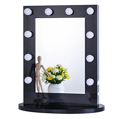 Chende White Hollywood Makeup Vanity Mirror with Light Tabletops Lighted Mirror with Dimmer LED Illuminated Cosmetic Mirror with LED Dimmable Bulbs ...  sc 1 st  zingydecor & Chende White Hollywood Makeup Vanity Mirror with Light Tabletops ...