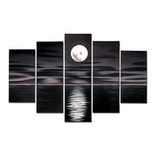 Load image into Gallery viewer, Blue Night Moon Hand Painted Oil Paintings on Canvas Framed and Stretched Modern Abstract Art Landscape Seascape Artwork for Living Room Home Wall Decoration - zingydecor