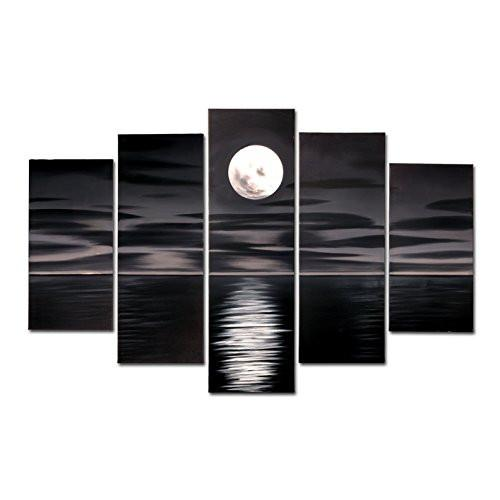 Blue Night Moon Hand Painted Oil Paintings on Canvas Framed and Stretched Modern Abstract Art Landscape Seascape Artwork for Living Room Home Wall Decoration