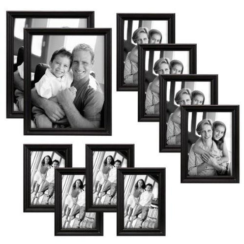 Image of MCS Ten Piece Multi Pack Picture Frame Value Set - Black Stain