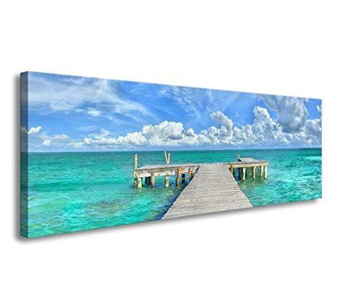 Image of Blue sand footprints Canvas Print Paintings for Wall and Home Decor - zingydecor
