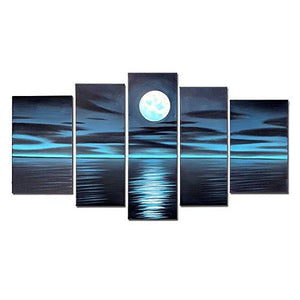 Blue Night Moon Hand Painted Oil Paintings on Canvas Framed and Stretched Modern Abstract Art Landscape Seascape Artwork for Living Room Home Wall Decoration - zingydecor