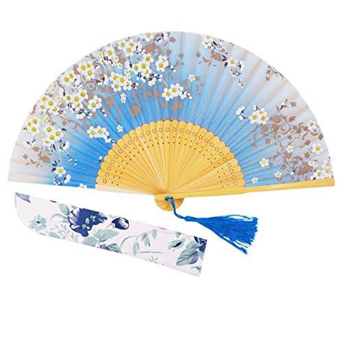 "Charming Elegant Modern Woman Handmade Bamboo Silk 8.27"" (21cm) Folding Pocket Purse Hand Fan, Collapsible Transparent Holding Painted Fan with Silk Pouches/ Wrapping - zingydecor"
