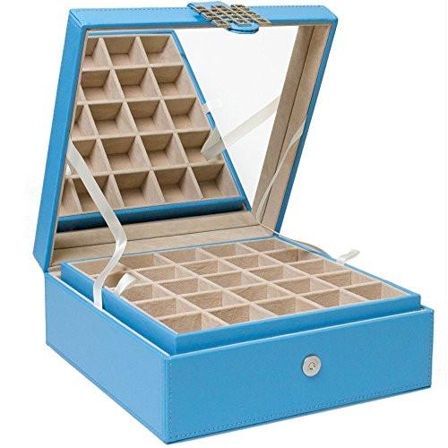Glenor Co Classic 50-Section Jewelry Box Earrings Organizer with Large Mirror - zingydecor
