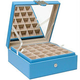 Glenor Co Classic 50-Section Jewelry Box Earrings Organizer with Large Mirror