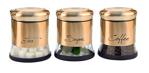Home Fashions Stainless Steel Glass Storage Canisters Set of 3 for Coffee Tea and Sugar with Airtight Lids, Raised Lid