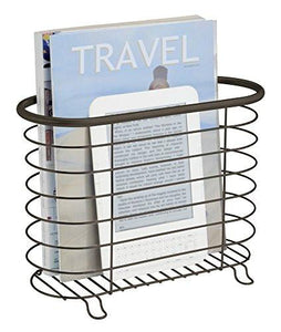 Newspaper and Magazine Rack for Bathroom, Office, Den - Brushed Stainless - zingydecor