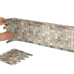 "Mosaic Peel & Stick 10"" x 10"" Backsplash Kitchen Bathroom DIY Wall Tiles - Set Of 6, Brown Multi - zingydecor"