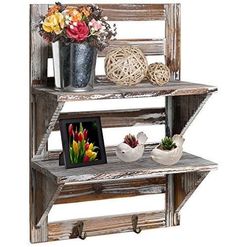 MyGift Rustic Wood Wall Mounted Organizer Shelves w/ 2 Hooks, 2-Tier Storage Rack - zingydecor