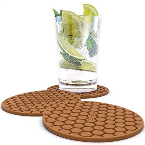Image of Amazing Quality Drink Coaster Set (8pc), Sleek Modern Design. Prevents Furniture Damage, Absorbs Spills and Condensation! Top Grade Silicone Ð
