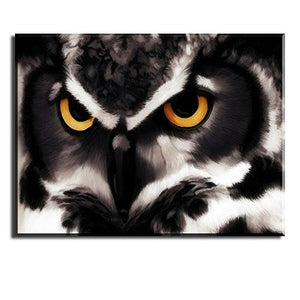 "PIY Owl Wall Art with Frame, Owls Picture Canvas Prints for Bedroom, Animals Wall Décor Paintings, Waterproof, 1"" Thick, Brown - zingydecor"