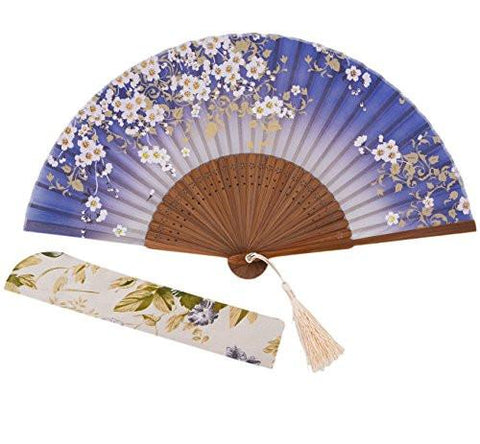 "Image of Charming Elegant Modern Woman Handmade Bamboo Silk 8.27"" (21cm) Folding Pocket Purse Hand Fan, Collapsible Transparent Holding Painted Fan with Silk Pouches/ Wrapping - zingydecor"