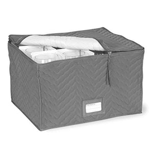 "Stemware Storage Chest -Deluxe Quilted Microfiber (Light Gray) ( 15.5"" x 12.5 x 10"") - zingydecor"