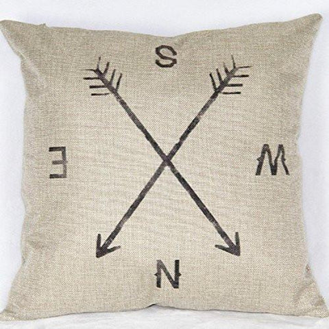"Image of 18"" X 18"" Cotton Linen Square Throw Pillow Case Compass Decorative Sofa Cushion Cover - zingydecor"