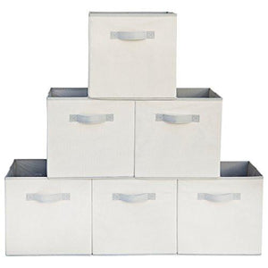 Squared Home Solutions Fabric Storage Cube Bins, Cream Gray  (Set of 6) - zingydecor