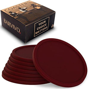 Drink Coasters by Barvivo Set of 8 - Tabletop Protection For Any Table Type, Wood, Granite, Glass, Soapstone, Sandstone, Marble, Stone Tables - Perfect Soft Coaster Fits Any Size of Drinking Glasses. - zingydecor