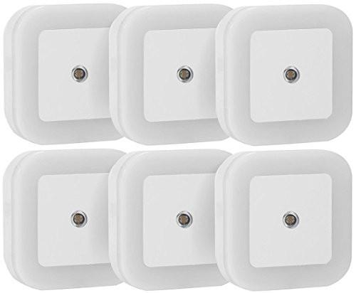 Sycees 0.5W Plug-in LED Night Light Lamp with Dusk to Dawn Sensor, Daylight White, 6-Pack - zingydecor