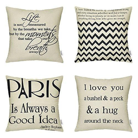 Image of 4 Packs Hippih Cotton Linen Sofa Home Decor Design Throw Pillow Case Cushion Covers 18 X 18 Inch ,1x Deer Antlers + 1x Feathers + 1x Compass + 1x Navigation Compass - zingydecor