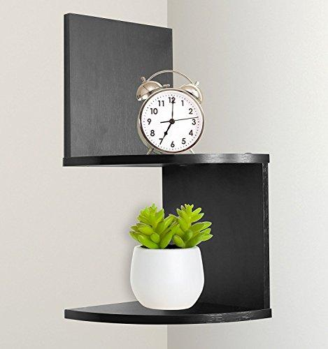 Greenco Modern Design 2 Tier Corner Floating Shelves, Espresso