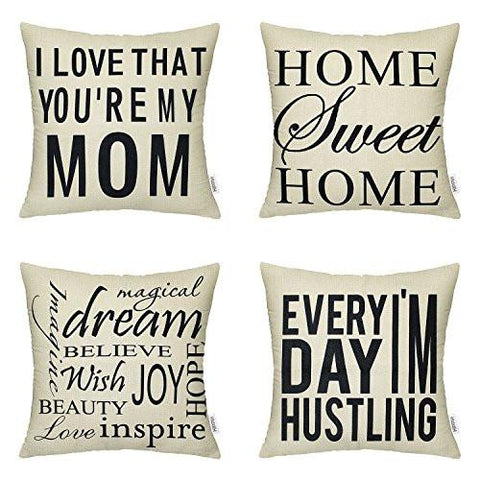 Image of 4 Packs Hippih Cotton Linen Sofa Home Decor Design Throw Pillow Case Cushion Covers 18 X 18 Inch ,1x Deer Antlers + 1x Feathers + 1x Compass + 1x Navigation Compass