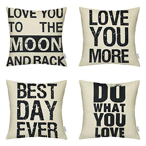 4 Packs Hippih Cotton Linen Sofa Home Decor Design Throw Pillow Case Cushion Covers 18 X 18 Inch ,1x Deer Antlers + 1x Feathers + 1x Compass + 1x Navigation Compass - zingydecor