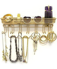 Load image into Gallery viewer, Sorbus Jewelry Organizer Holder, Mail & Key Rack, 13 Hook Wall Mounted Storage Shelf - Perfect for Jewelry, Accessories, Beauty Products, Mail, Keys, and Much More! - zingydecor