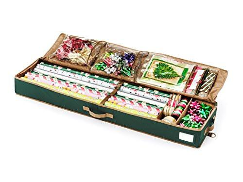 CoverMates – Premium Deluxe Gift Wrap Organizer – Holds up to 15 Rolls + Accessories - zingydecor