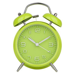"Peakeep 4"" Twin Bell Alarm Clock with Stereoscopic Dial, Backlight, Battery Operated Loud Alarm Clock"