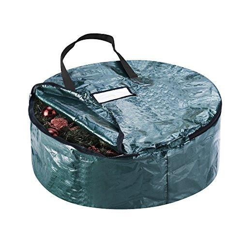 Elf Stor Premium Green Holiday Christmas Wreath Storage Bag For 24