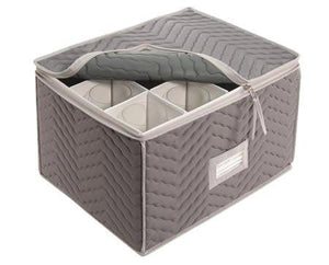 "Stemware Storage Chest -Deluxe Quilted Microfiber (Light Gray) ( 15.5"" x 12.5 x 10"")"