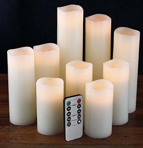 "Flameless Candles, Battery Operated Candles Set 4"" 5"" 6"" 7"" 8"" 9"" Battery Candles Dancing Flame With Remote Timer By Comenzar (Ivory )"