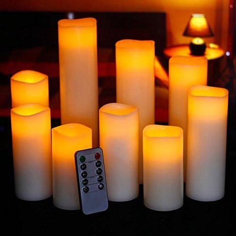 "Image of Ry-king 4"" 5"" 6"" 7"" 8"" 9"" Pillar Flickering Flameless LED Candles with 10-key Remote Timer, Set of 9 - zingydecor"