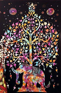 Marubhumi Tree of Life Psychedelic Wall Hanging Elephant Tapestry, Multi/Black, 55x86-Inches - zingydecor