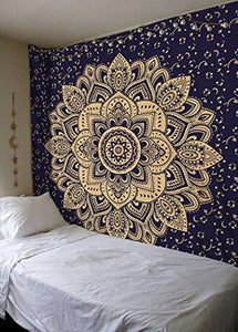 New Launched Blue Gold Passion Ombre Mandala Tapestry By Madhu International, Boho Mandala Tapestry, Wall Hanging, Gypsy Tapestry, Multicolor, 85 X 89 inches - zingydecor