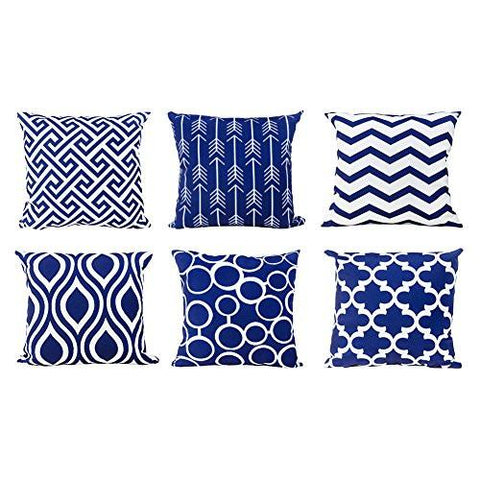 Image of Top Finel Durable Cotton Linen Square Decorative Throw Pillows Cushion Covers Cases Pillowcases For Sofa 18 x 18 inch Set of 6