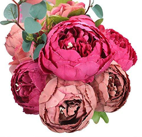 Image of Springs Flowers Artificial Silk Peony bouquets Wedding Home Decoration, Pack of 1