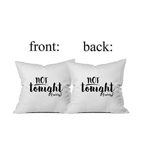 Image of Bridal Shower Gift Tonight - Not Tonight Pillow Case By Oh, Susannah 18 x 18 Inch Throw Pillow Cover Bachelorette or Lingerie Party Gift
