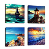 "Canvas Wall Art Sunset Sea Beach Painting 12"" by 12"" 4 Pieces Canvs Art Nature Picture Framed and Ready to Hang"
