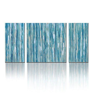 Canvas 3 Panel Cool Blue Abstract Modern Print With Embellishment Wall Pictures for Home Decoration, Ready to Hang - zingydecor