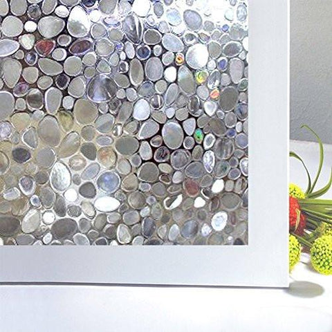 Image of Bloss Etched Privacy Window Film Decorative Self Adhesive Glass Contact Paper Frosted Static Cling Film 17.7inch x 78.7 inch - zingydecor
