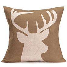 Load image into Gallery viewer, Cukudy Decors Square Decorative Throw Pillow Case Cushion Cover Rustic Deer Buck Burlap Throw Pillows 18 X 18 2 Sides Printed - zingydecor