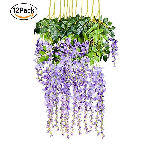 UArtlines 12 Pack 3.6 Feet Artificial Fake Wisteria Vine Ratta Hanging Garland Silk Flowers String Home Party Wedding Decor 12, Champagne
