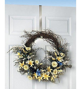 Spectrum Over The Door 1-Inch Satin Nickel Wreath Holder - zingydecor