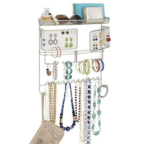 mDesign Hanging Fashion Jewelry Organizer for Rings, Earrings, Bracelets, Necklaces - Wall Mount