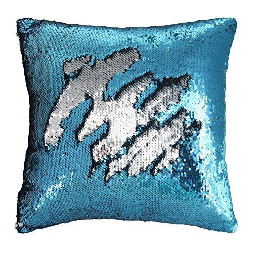 Mermaid Pillow Case, Play Tailor Magic Reversible Sequin Pillow Cover Throw Cushion Case 40x40CM - zingydecor