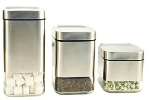 Home Fashions Stainless Steel Glass Storage Canisters Set of 3 for Coffee Tea and Sugar with Airtight Lids, Raised Lid - zingydecor